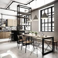 Industrial Style Industrial Spain With Open Back Dining Side