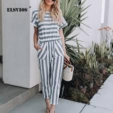 Wholesale <b>Striped printed rompers women</b> Casual Streetwear ...