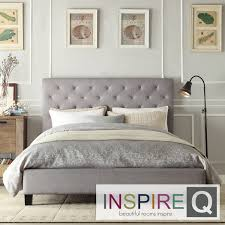 Beautify the bedroom with this stylish tufted platform bed. Featuring a  gorgeous linen headboard,