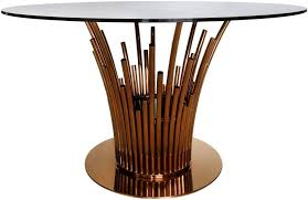 burgio rose gold metal and glass round dining table 135cm