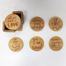 engraved bamboo coaster set love sayings calligraphy – stamp out