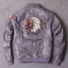 details about 2018 jacket men male genuine leather skin with embroidery indian motorcycle