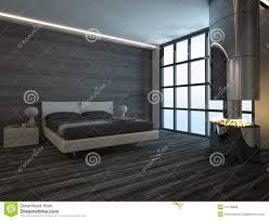Interno nero della camera da letto di stile con il camino