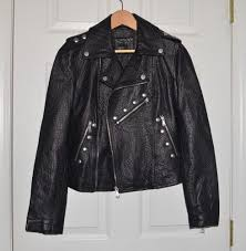 nwt rare belle vere genuine leather black studded motorcycle jacket x small xs