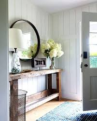 mirror and table for foyer. Round Entryway Mirror Modern Farmhouse With Reclaimed Wood Console And White Walls Table For Foyer