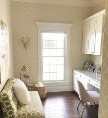 neutral home office ideas. Home Office. Neutral Office Features Cabinets, Wallpaper And Hardwood Floors. A Green Settee Brings Some Color To Ideas E