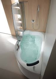 Elegant Narrow Bathtubs With Shower And Covered Glass Plus Storage Combined  Tiled Floor For Small Bathroom