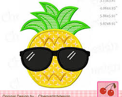 pineapple with sunglasses clipart. sunglasses pineapple summer fruit machine embroidery applique design sum18 with clipart