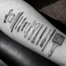 wood tool tattoos. artist tattoos tools of people\u0027s professions on their skin wood tool n