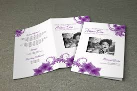 Download Funeral Program Templates Purple Flower Funeral Program Template Printable Memorial 13