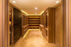 led closet lighting. Led Closet Lighting Ideas With Recessed Lights Opened Shelves Glass Door And Parquet Wooden Floor