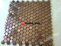copper penny tile backsplash penny round mosaic tile gold metal mosaic wall tiles  penny round mosaic