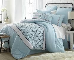 beautiful bluee geometric embroidery down alt comforter 8 pcs king queen bedding