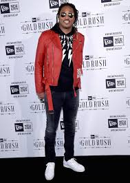 future wears off white leather jacket neil barrett hoo and louboutin shoes at new era super bowl 50 party upscalehype