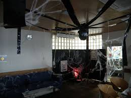 office halloween decor. Office:Deluxe Halloween Office Design With Black Hanging Ornament And White Spider Webs Also Blue Decor O