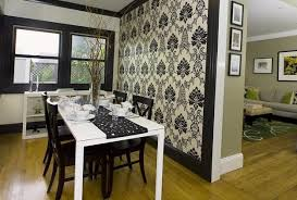 dining room wallpaper. black and white wallpaper, dining furniture for room decorating wallpaper
