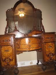 antique vanity set furniture. art nouveau bedroom set circa in beautiful condition. manufactured by bassett furniture company, virginia. dresser, vanity, stool, and double bed with antique vanity