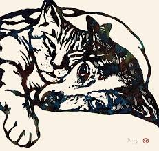 cats and dogs in love drawing. Unique Cats Portraits Drawing  Dog Love With Cat Stylised Pop Art Sketch Poster By Kim  Wang To Cats And Dogs In C