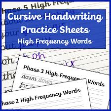 Cursive Handwriting Worksheets High Frequency Words Free