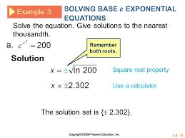solution solving base e exponential equations example 3