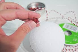 pin braided trim into styrofoam ball