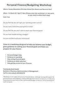 Personal Finance Budgeting Workshop Visit Cooma