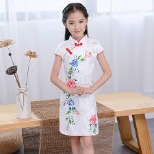 Lovely <b>Chinese</b> Kid Child <b>Girl</b> Floral Printing <b>Cheongsam Dress girls</b> ...