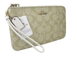 New Coach Signature Large Double Zip Wristlet Bag Purse Light Khaki Chalk  Gold by Coach