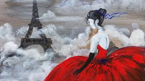 red dress eiffel tower beginner acrylic painting class angelooney you