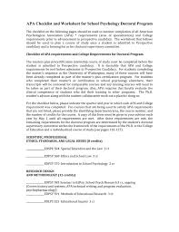 Research Design Worksheet Psychology Apa Checklist And Worksheet For School Psychology Doctoral