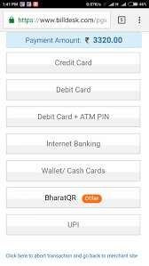 billdesk payment page