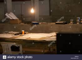 makeshift office. Empty Makeshift Office At Night - Stock Image