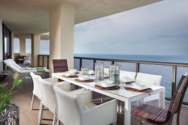 modern balcony furniture. Modern Balconies Interior Design Ideas. Balcony With Big Column And Dining Set Furniture