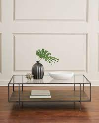four hands troye metal glass coffee table