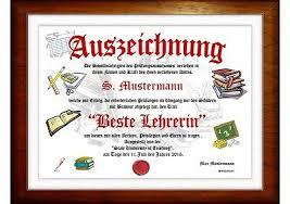 Urkunde Geschenk Für Lehrer Lehrerin Abschied Grundschule Schule