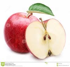 red apple slice. apple leaf red slice e