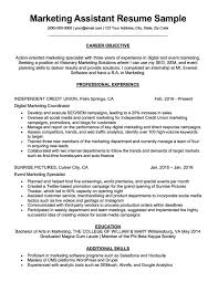 Objective For Resume Marketing Marketing Assistant Resume Sample Tips Resumecompanion