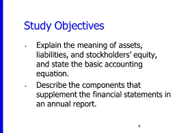4 study objectives explain the meaning of assets liabilities and stockholders equity