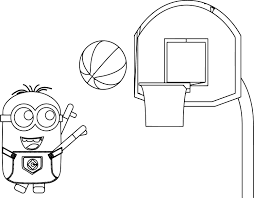 Small Picture Coloring Pages Boys Minion Playing Basketball Coloring Page
