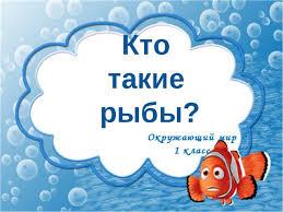 Конспект урока по окружающему миру кто такие рыбы класс  Кто такие рыбы Окружающий мир 1 класс