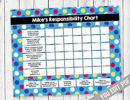 Chore Chart For Kids Reward Chart Responsibility Chart Allowance Chore Chart Behavior Chart Kids Chore Chart Printable You Edit Pdf