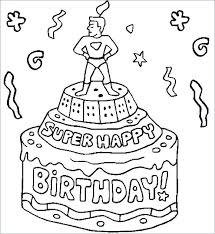 Birthday Coloring Pages Free Happy Frozen Characters And