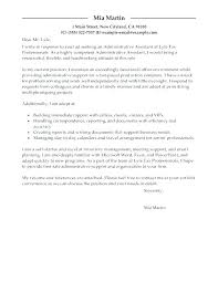 Executive Assistant Cover Letter Examples Cover Letter For Administrative Secretary Sample Law Cover Letters