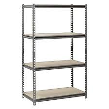 muscle rack 4 shelf steel shelving heavy duty silver garage storage organizer for usa