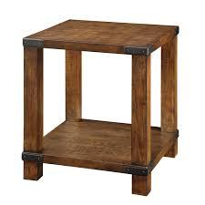 Weathered Oak Furniture Furniture Of America Titus Dark Oak End Table With Metal Hardware