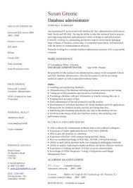 database administrator cv sample  maintenance of the databases