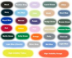 Color Chart For Clothes Colour Chart Busybee Embroidered Clothing
