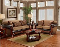 Living Room Loveseats Vanceton Mocha Brown Leather Traditional Wood Sofa Amp Loveseat