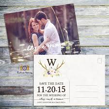 Printable Save The Date Wedding Postcard Rustic Save The Date