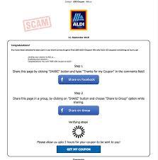 fake aldi coupon claim page